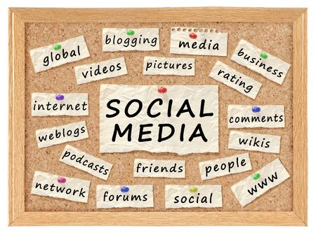 weblogs: Social with networking concept words on corkboard isolated on white Stock Photo