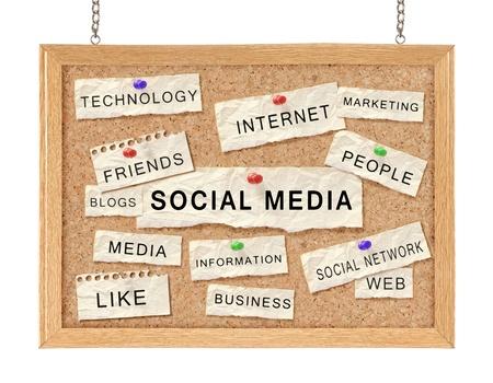 Social Networking-Konzept mit Worten auf corkboard isoliert auf weiß Standard-Bild - 11772430