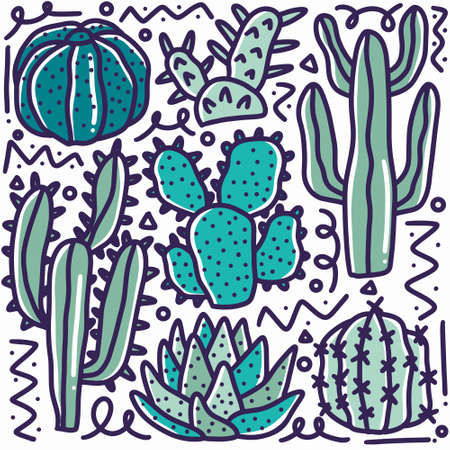 doodle set of cactus collection hand drawing