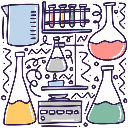 hand drawn lab equipment doodle set Ilustración de vector