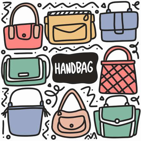doodle set of handbag hand drawing Ilustracje wektorowe