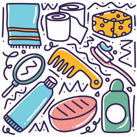 hand drawn baby toiletries doodle set