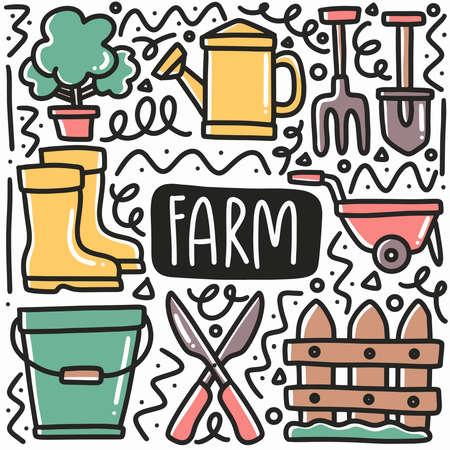 hand drawn farm equipment doodle set