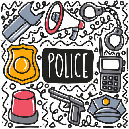 hand drawn police equipment doodle set