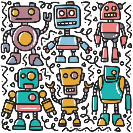 hand drawn robot doodle set