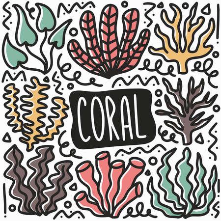 hand drawn coral doodle set Ilustración de vector