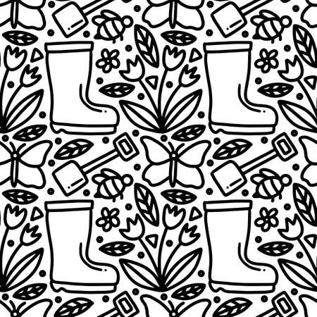 doodle set of gardening time hand drawing