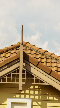 roof ridge: Roofing in the daylight Stock Photo