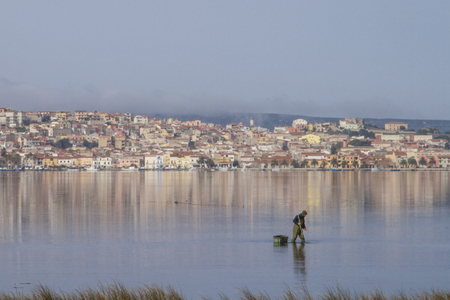 A fisherman at work bending in the flat sea water that reflects the houses of Sant'Antioco in Sardinia
