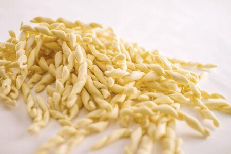 Close up still life of italian handmade pasta fusilli al ferretto on white background