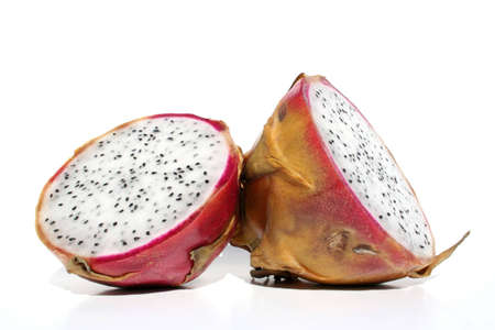 A dragonfruit sliced in half.