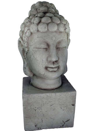 An isolated statue of a Buddha head. Stock fotó