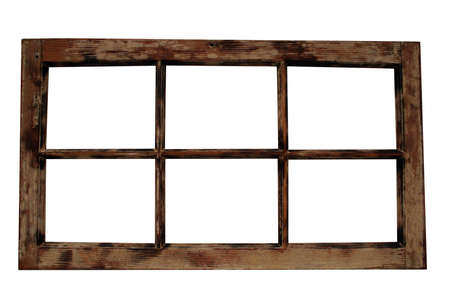 stripped: An old isolated wooden window frame.