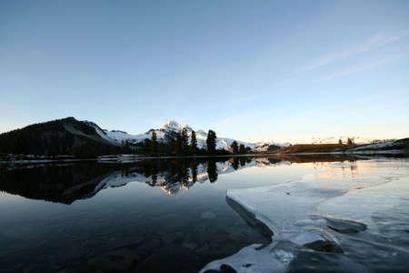 begining: L'inizio di un lago come il congelamento su approcci inverno.