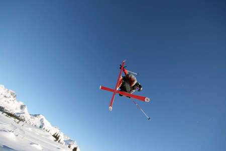 A skier shows off his moves in Whistler, BC.