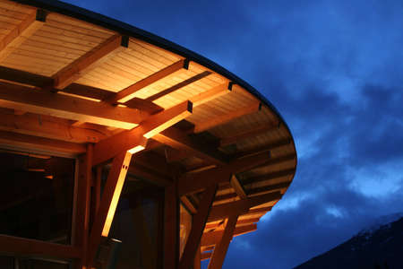 A small detail of a new wood building in Squamish, BC, Canada photo