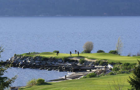 A group of golfers on a green by the sea. Stok Fotoğraf