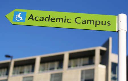 A sign points the way towards a new university campus. Banco de Imagens - 2134346