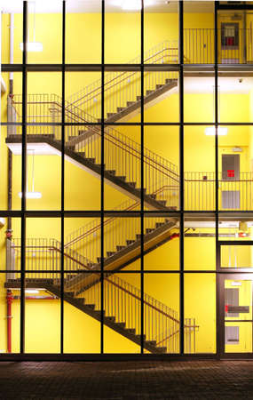 stairwell: A well lit stairwell at a new university in Squamish, BC. Stock Photo