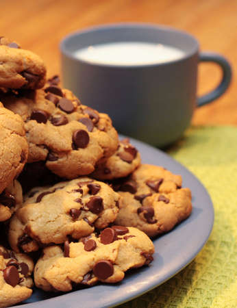 A plate of cookies and a cool cup of milk.