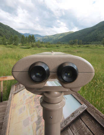 A set of binoculars used to look for wildlife near Aspen, Colorado. Stok Fotoğraf