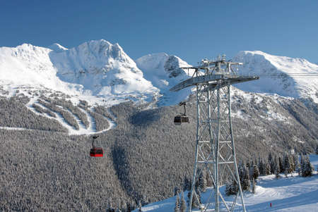 eyesore: An engineering marvel (and some would say eyesore) that connects Whistler Mountain to Blackcomb Mountain from not-quite-peak to not-quite-peak.  The P2P Gondola. Stock Photo