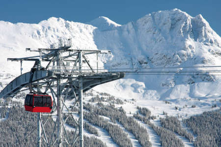The newly built P2P Gondola connecting Whistler and Blackcomb mountains.