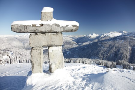 meant: A structure similar to an inuksuk but meant to represent a human figure, called an inunnguaq is a traditional native sculpture. This is also the symbol of the 2010 Winter Olympic Games in Whistler.  Inuksuit vary in shape and size, with deep roots in the