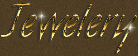 glas 3d: Jewelery, sign for promotional activities, gold on brown