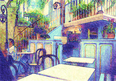 French coffee bar, transformation from a photo photo