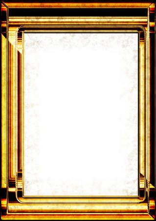 Golden metallic frame for photo or textbox photo