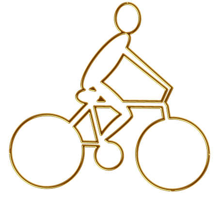 frisky: Golden cyclist in relief