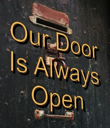 our: Our door is always open. Stock Photo