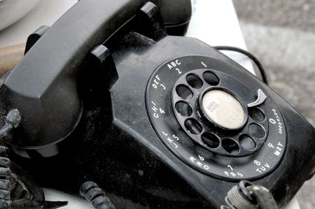 bakelite: Black Bakelite Rotary Telephone Stock Photo