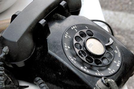 bakelite: Black Bakelite Rotary Telephone Stock Photo