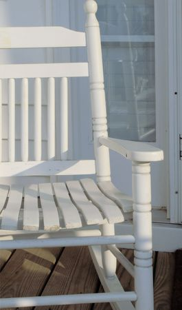 front stoop: Childs Rocking Chair Stock Photo