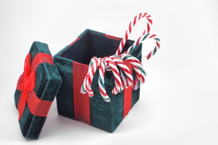 x mass: Christmas Gift Box with Candy Canes