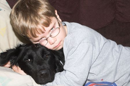 boy with dog photo