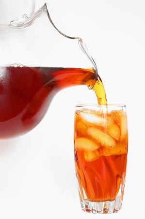 Iced Tea Being Poured From a Pitcher Into a Glass