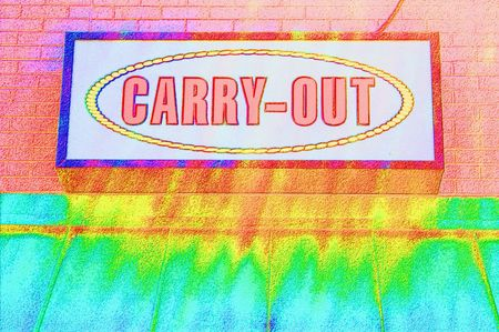 carry out: Abstract of a Carry Out Sign