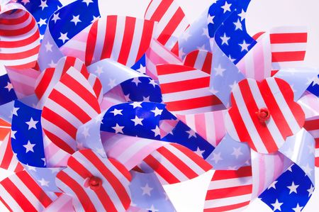 A group of patriotic pinwheels for the 4th of July. photo