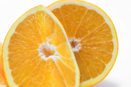 Cross sections of fresh and juicy oranges.
