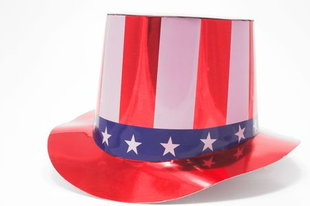sam: A stars and stripes patriotic top hat. Stock Photo