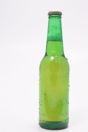 near beer: A delicious cold beer in a green bottle.