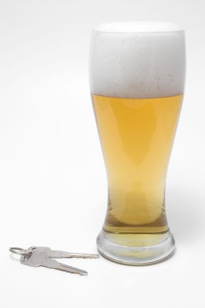 drink responsibly: Drunk Driving Concept - Beer, and Car Keys