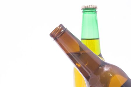 A couple of beer bottles, one crossing in front of the other. Stock Photo - 962546