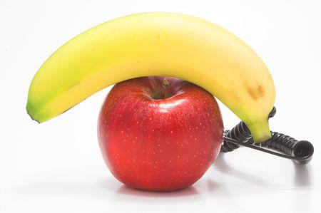 A telephone made from an apple and a banana. Zdjęcie Seryjne