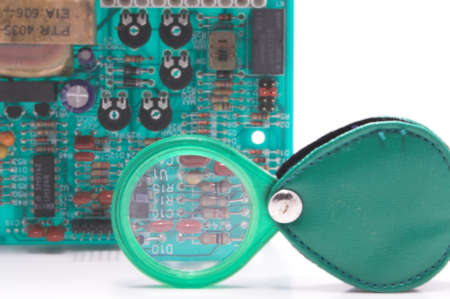 A close-up of a printed circuit board.