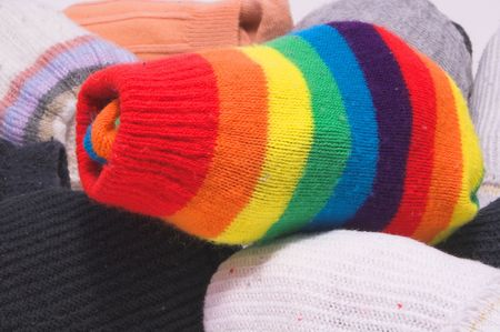 drawers: Clean and colorful striped knitted toe socks. Stock Photo
