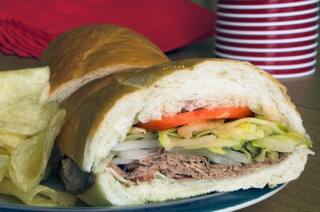 hoagie: A delicious and healthy deli style submarine sandwich. Stock Photo